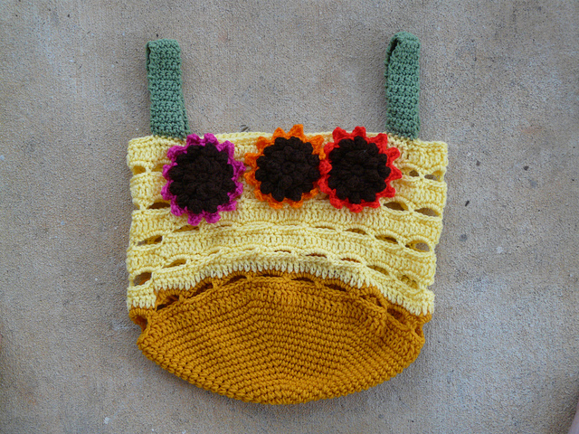 crochet sunflower yarn stash bag