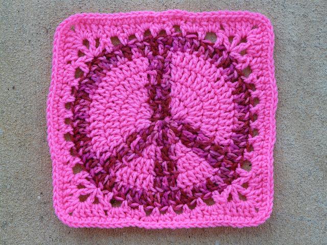 crochet peace sign granny square