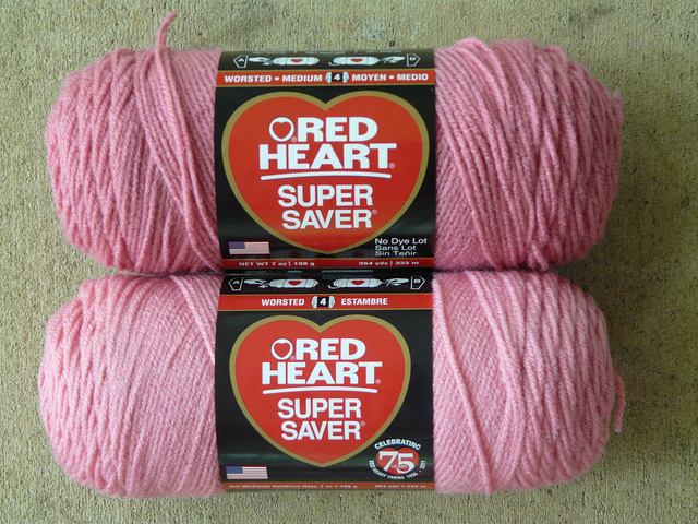 pink yarn red heart