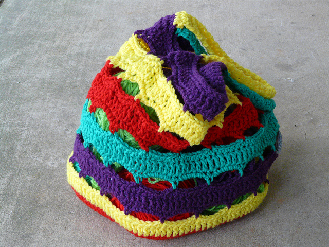 My 2011 North Carolina State Fair project lifesavers inspired crochet bag, packed and ready for adventure