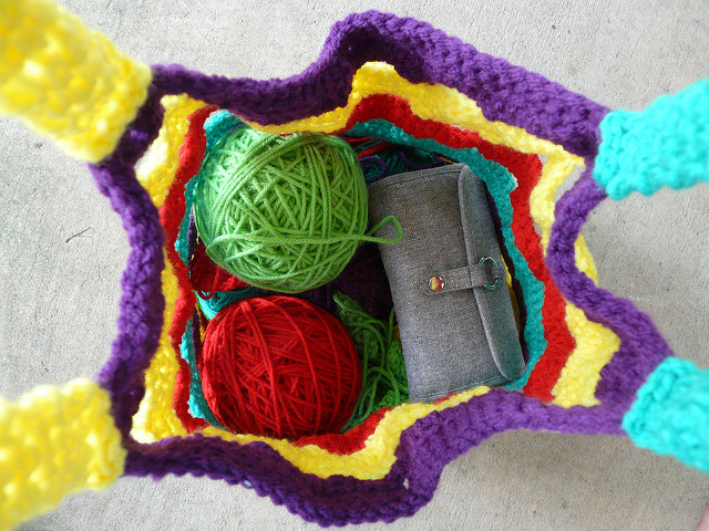 crochet bag with yarn for crochet