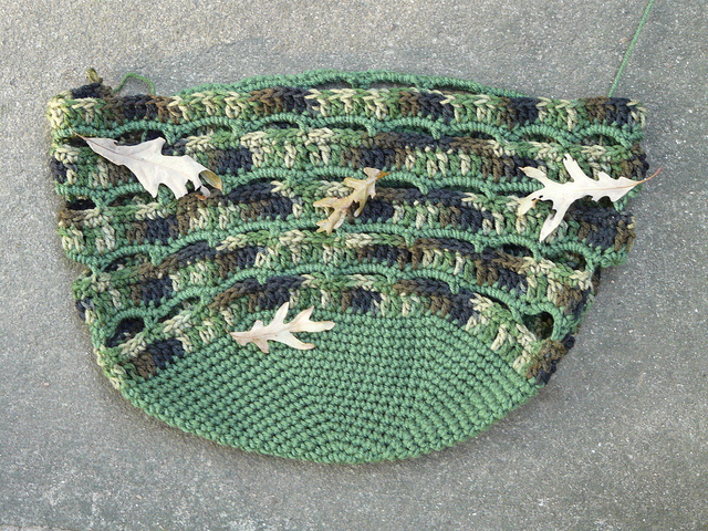 crochetbug, crocheted, crocheting, crochet bag, crochet basket, camouflage crochet