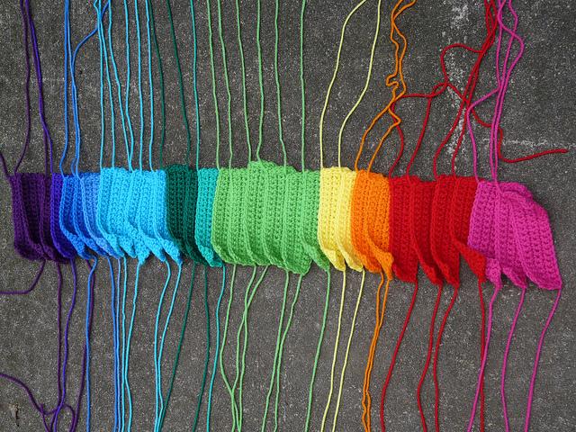a rainbow of bauhaus crochet rectangles for my piecework