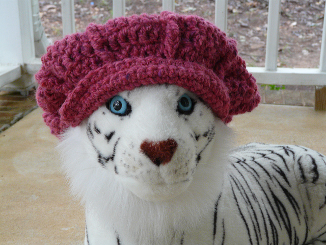 newsboy crochet hat on a tiger, crochetbug, eileen tepper, crochet hat, crochet cap, brimmed crochet cap