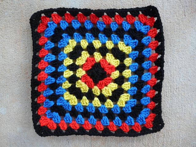 crochetbug, crochet square, granny square, mondrian, color inspriation