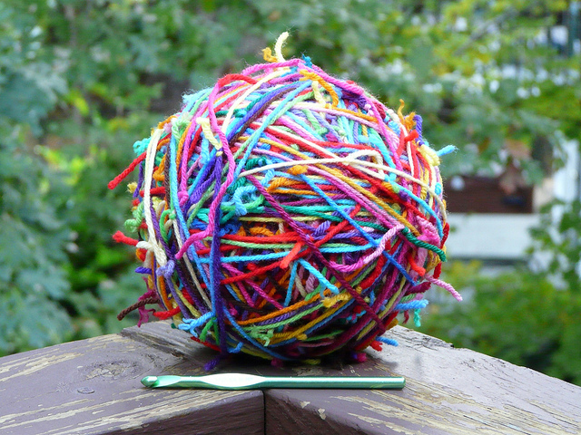 ball of yarn scraps, crochetbug