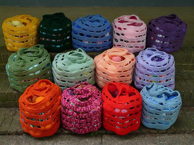 a murder of crochet stash bags
