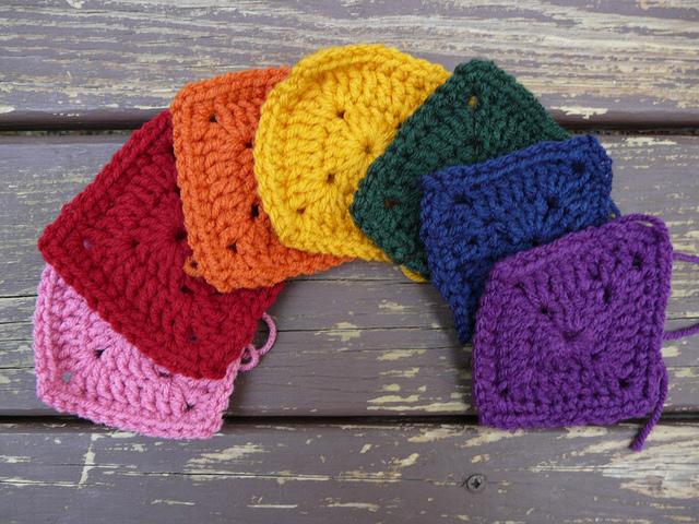 seven crochet squares, crochetbug, granny squares, crochet motif, rainbow is a color