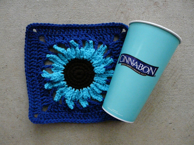 crochet flower crochet square with cinnabon cup