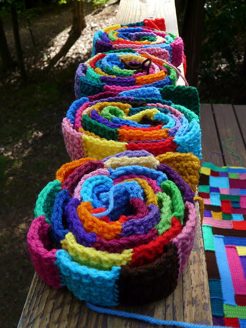 strips of crochet squares
