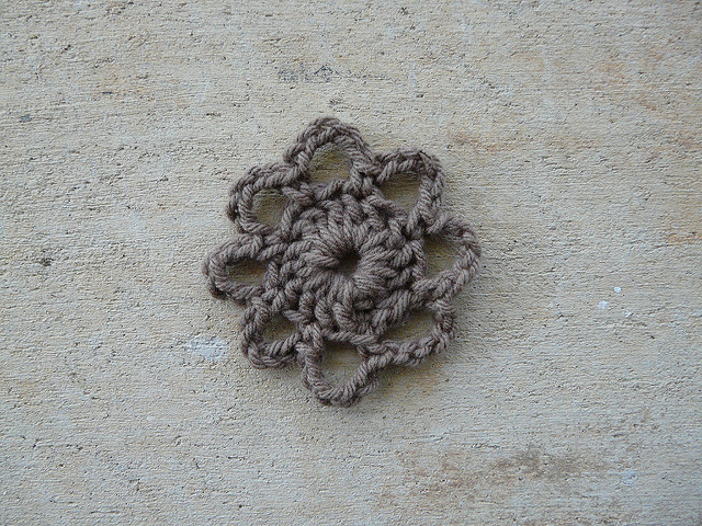 The chocolate color crochet square center