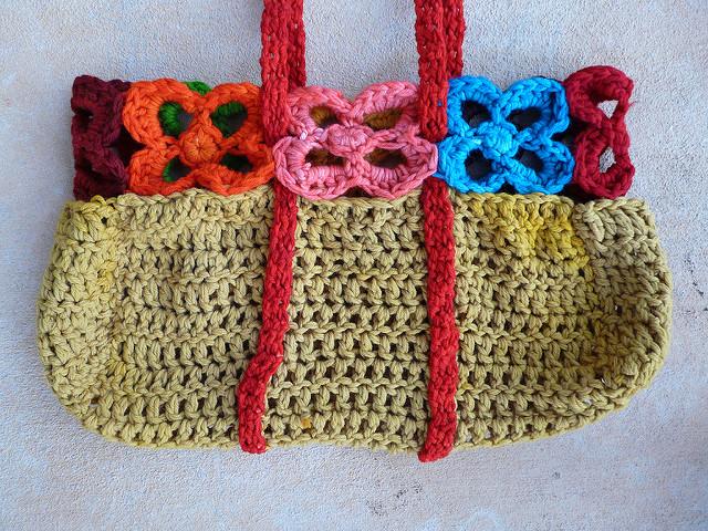 felted crochet basket with crochet flowers, crochetbug
