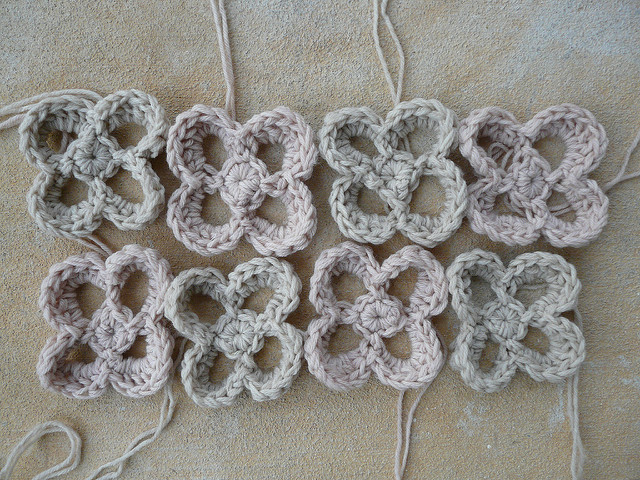 eight large crochet flowers