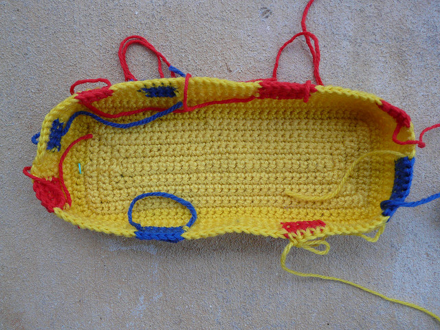 crochetbug, crochet purse, crochet tote, crochet bag, single crochet, mondrian, use what you have, vintage yarn
