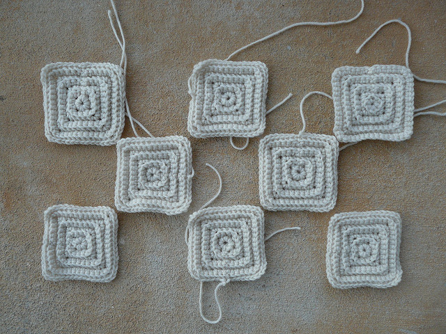 eight textured crochet squares