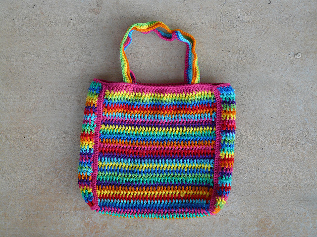 crochet stripe crochet purse