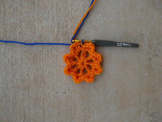 Orange center for a crochet square