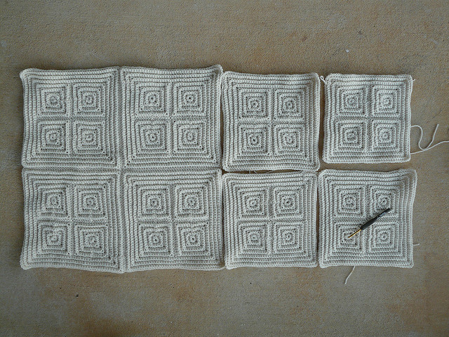 The textured crochet square that bedeviled me with seven other textured crochet squares