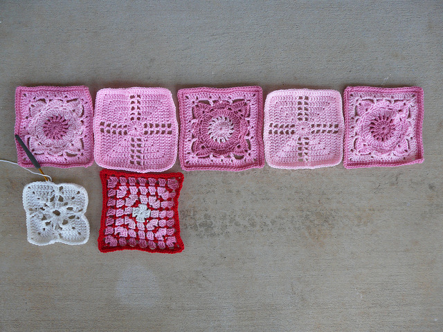 various crochet squares