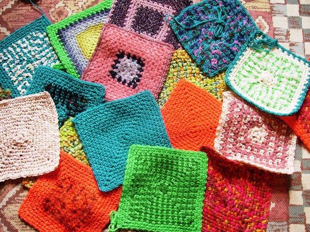crochetbug, crochet squares, crochet dishcloths, random crochet, crochet squares