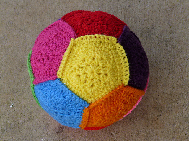 rainbow crochet dodecahedron