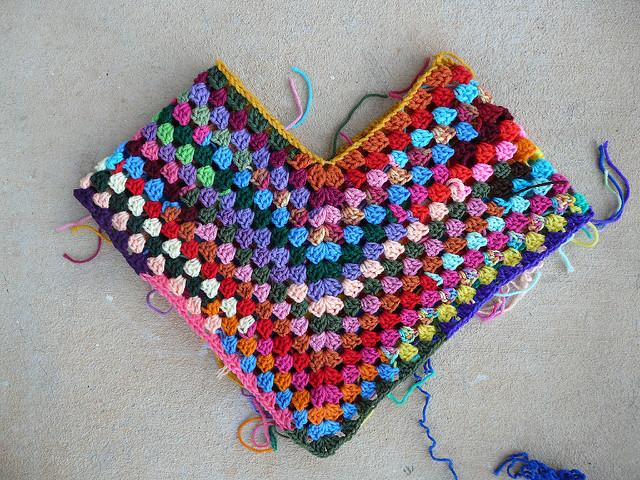 crochetbug, crochet poncho, scrap yarn crochet, scrap crochet, use what you have