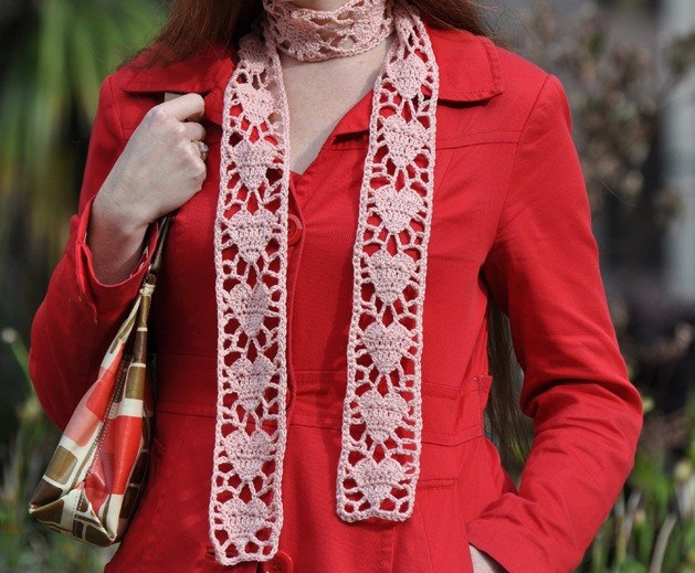 Alice Merlino's Crochet Heart Scarf