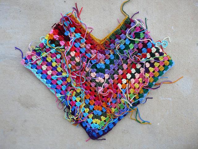 scrap yarn granny stitch crochet poncho
