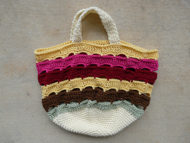 Cheesecake Factory inspired yarn stash crochet bag