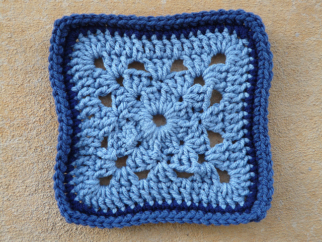 Variation on a crochet granny square with a crochet border