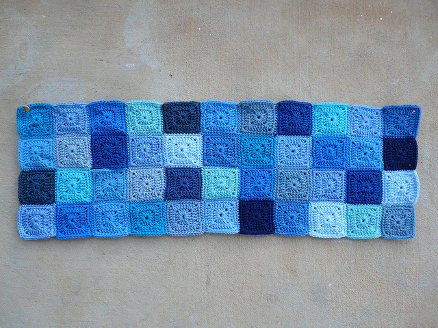 blue crochet blanket