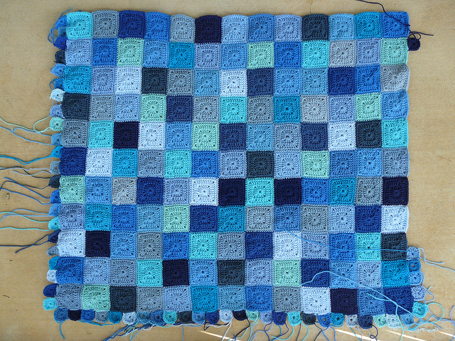 I make a bit more progress on the border for the Little Boy Blue blanket