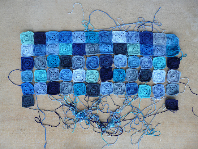 More and more squares for a blue crochet blanket