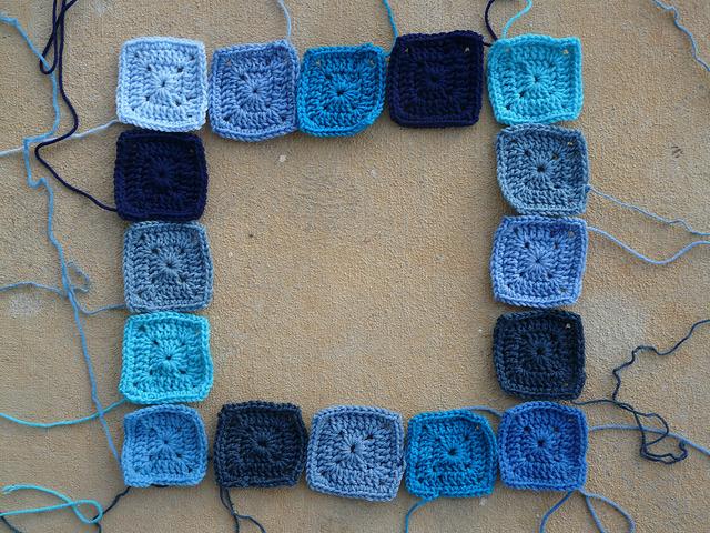 blue crochet squares