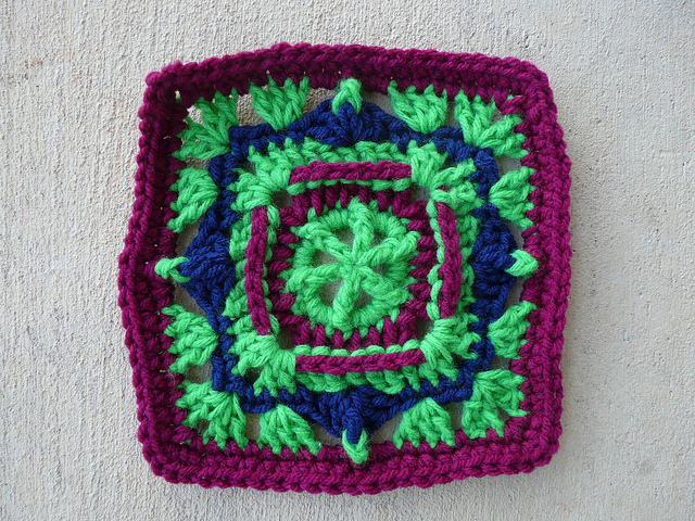 A highly textured crochet square