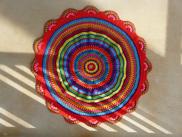 The back of the completed African beads inspired table cozy