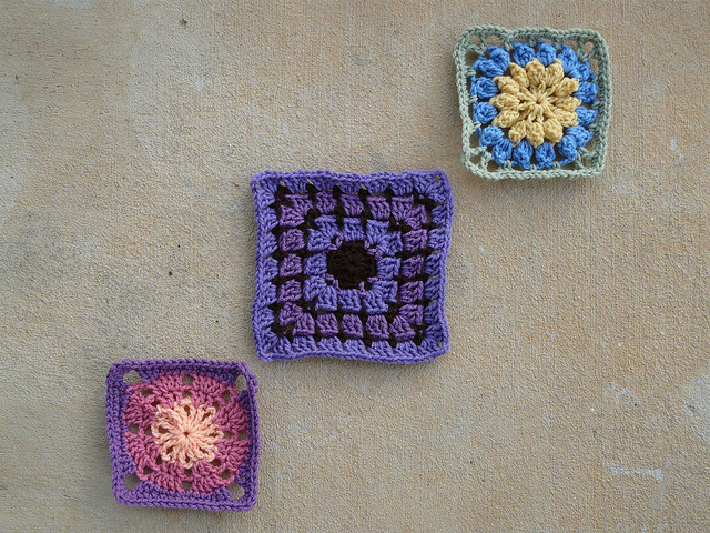 Three crochet squares designed by jean leinhauser