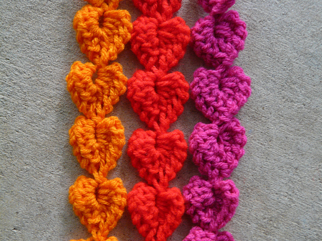 detail of crochet heart strands