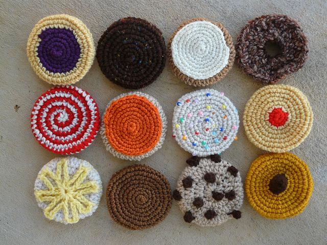 A dozen crochet cookies for a crochet blanket