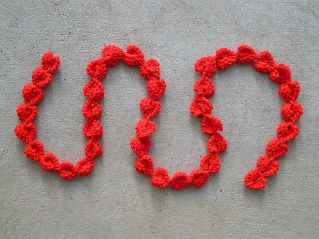 hot red crochet hearts