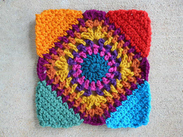 crochet square c-2 with crochet triangle corners