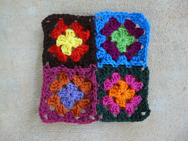 a four patch of granny squares