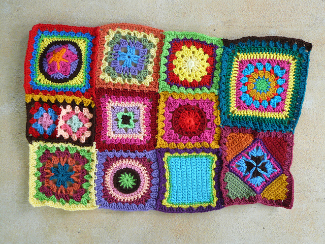 crochet squares and brown crochet strip