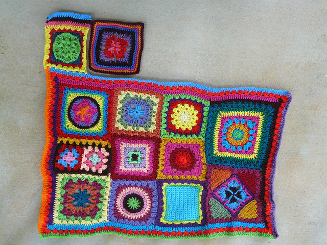I prepare to join another crochet square