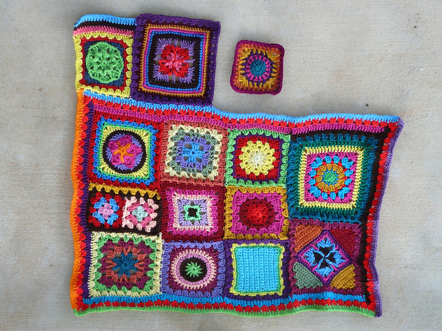 I prepared to add another crochet square