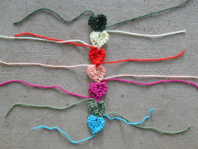 strand of crochet hearts