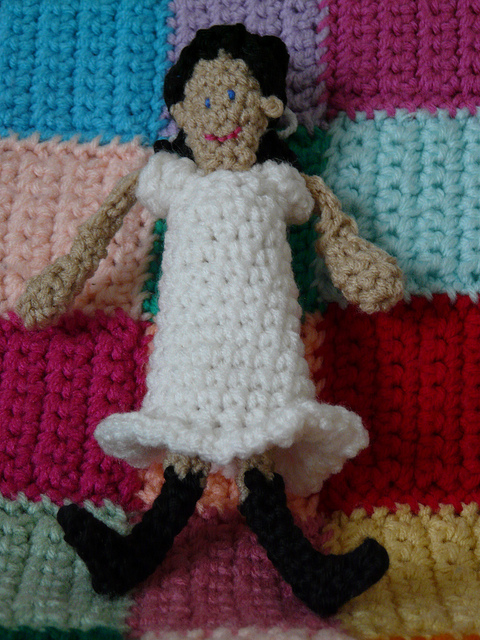 My grandmother Nora, born on the thirteenth of April, in her confirmation dress rendered in crochet