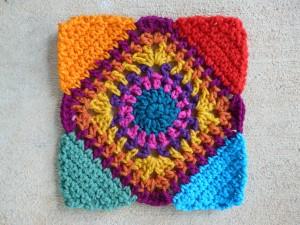 Free Crochet Pattern For Granny Square Sampler : Square C-2 and Square A-2 of the Granny Square Sampler ...
