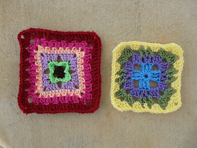 two crochet squares