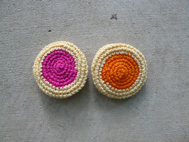 two crochet cookies